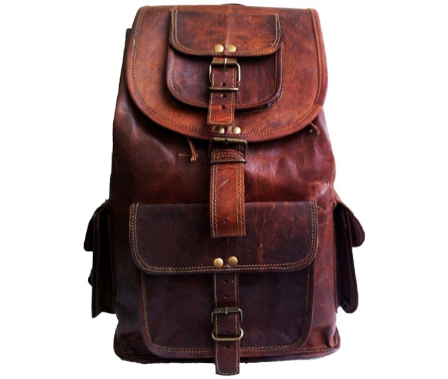0fd849ec95cdb ☆ PLH8 Skórzany plecak męski   damski z grubej skóry w stylu vintage.