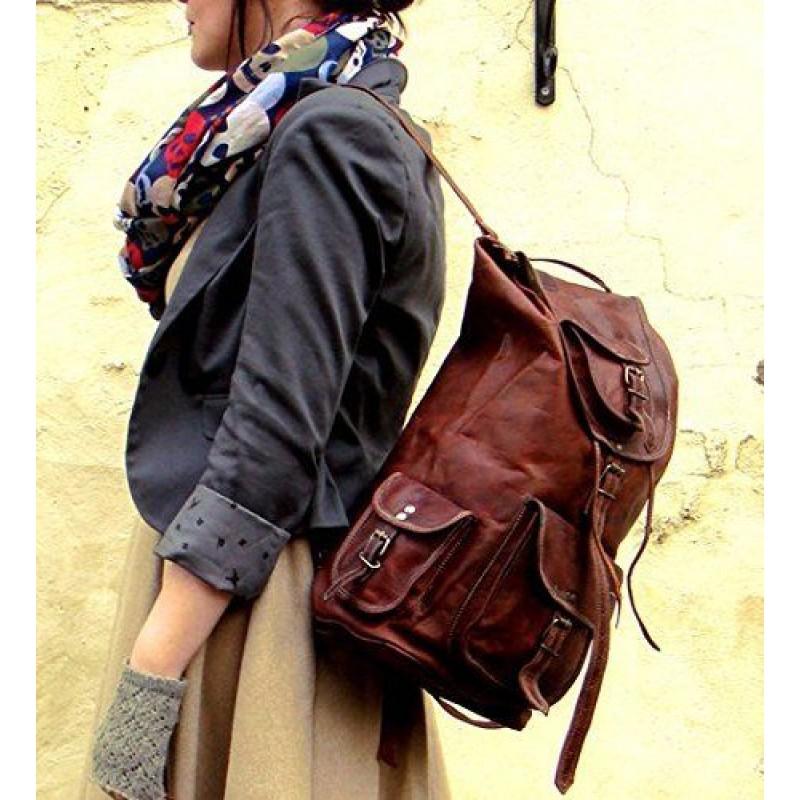 e7277522f82ae ☆ PLH7A Skórzany plecak męski / damski z grubej skóry w stylu vintage.