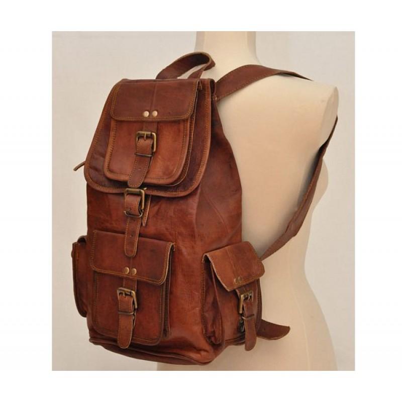 07cdef65791d0 ☆ PLH91 Skórzany plecak męski   damski z grubej skóry w stylu vintage.