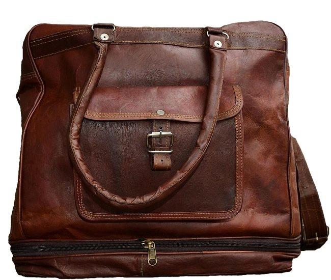 """PLH92. TRAVELER SOLO™ Skórzana torba podróżna na ramię / plecak. Rozmiar 14"""""""