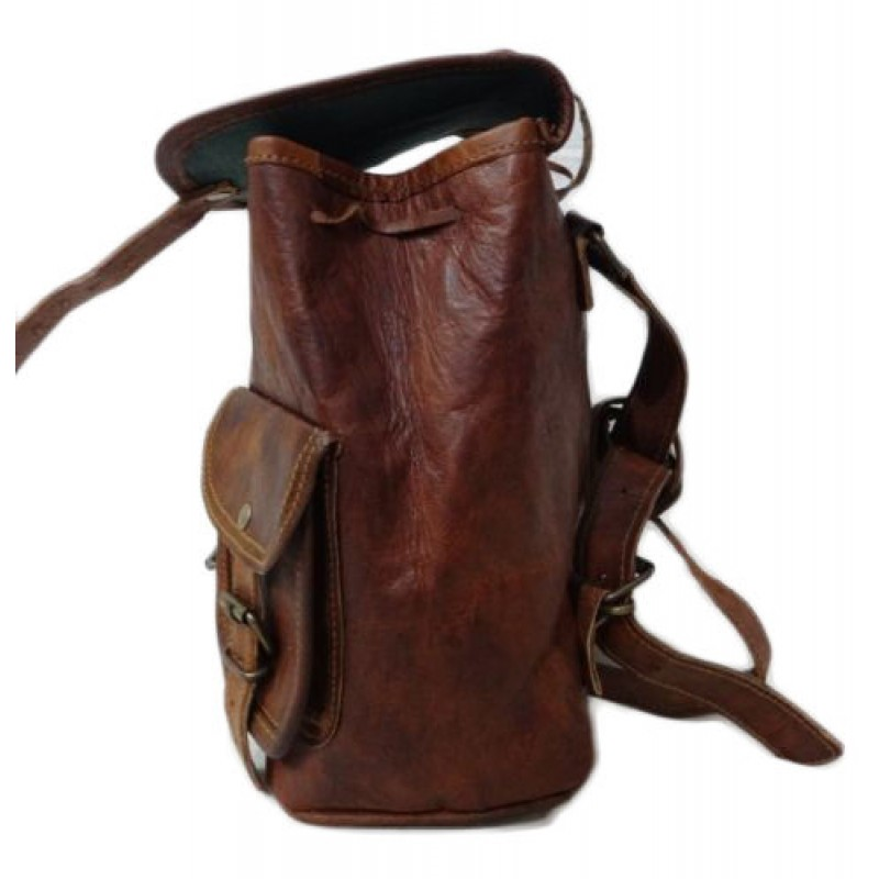 7ec6e3cdcbb6e ☆ PLH94 Mały skórzany plecak damski z grubej skóry w stylu vintage.