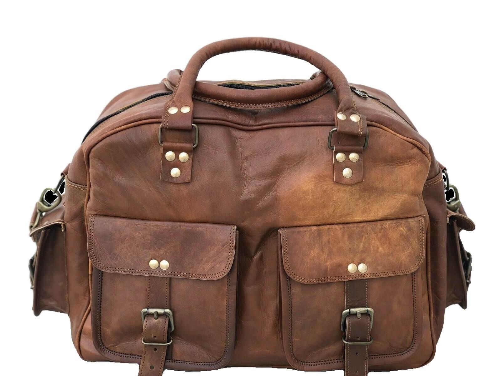 """PG1 HOMS VINTAGE™ Skórzana torba podróżna na ramię. Rozmiar 16"""""""