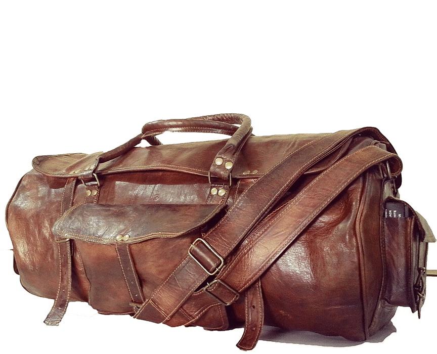 "(uszkodzona) PH1. Skórzana torba podróżna plecak ""VINTAGE TRAVELER MAX™  Rozmiary 24"""