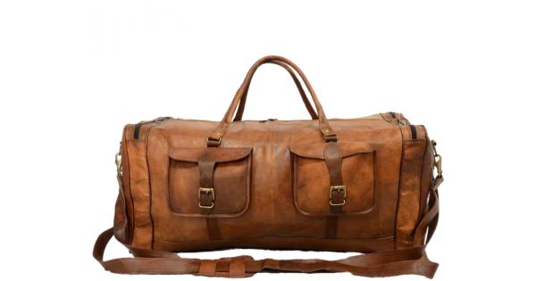 8f37a066498d6 ☆ PH4 Duża skórzana torba podróżna na ramię męska z postarzanej skóry w  stylu vintage.