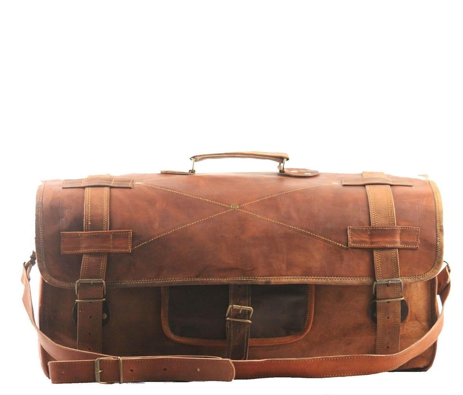 """(24h) PH5. Skórzana torba podróżna na ramię męska """"VINTAGE UDAIPUR™  Rozmiar 28"""" (dostawa w 24h)"""