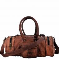"PH74.  Skórzana cylindryczna torba podróżna na ramię ""VINTAGE ROAMI™  Rozmiar 16"""