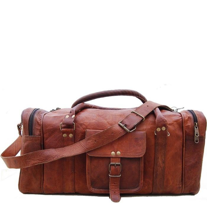 """PH73. Skórzana torba podróżna na ramię VINTAGE SAHIB™ Rozmiar 20""""-24"""""""
