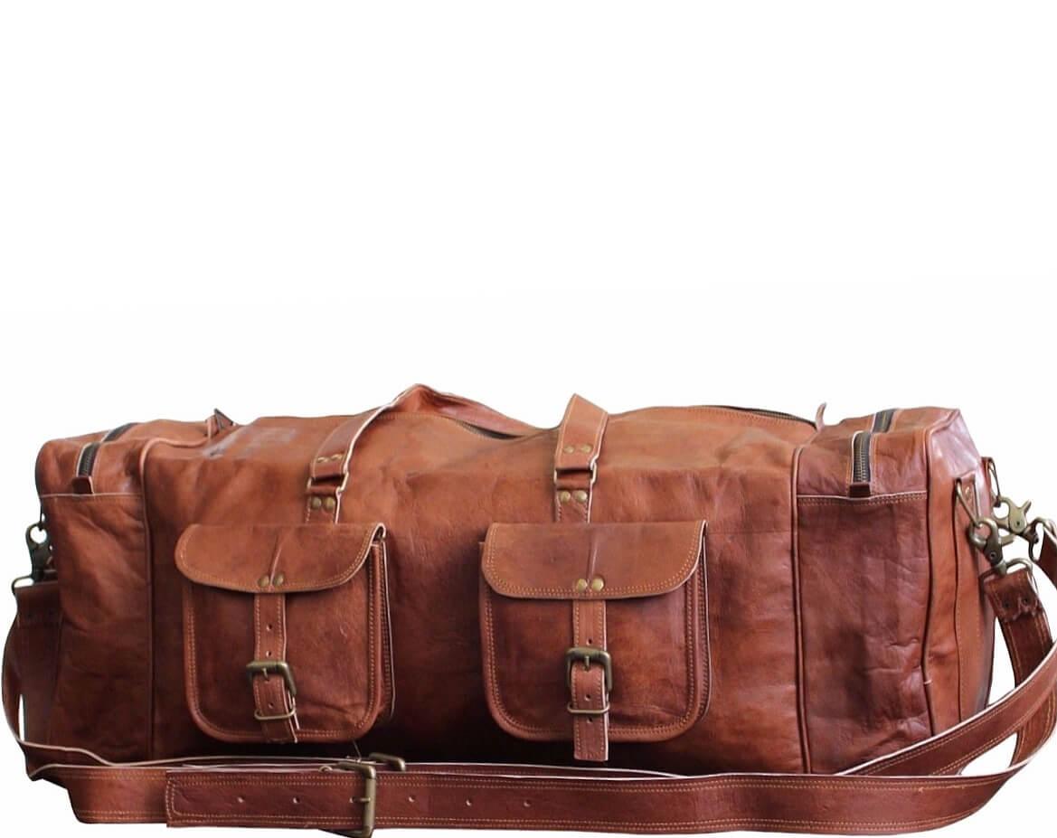 """PH77. Skórzana torba podróżna na ramię męska """"VINTAGE DOUBLE JONES™  Rozmiar 29"""""""