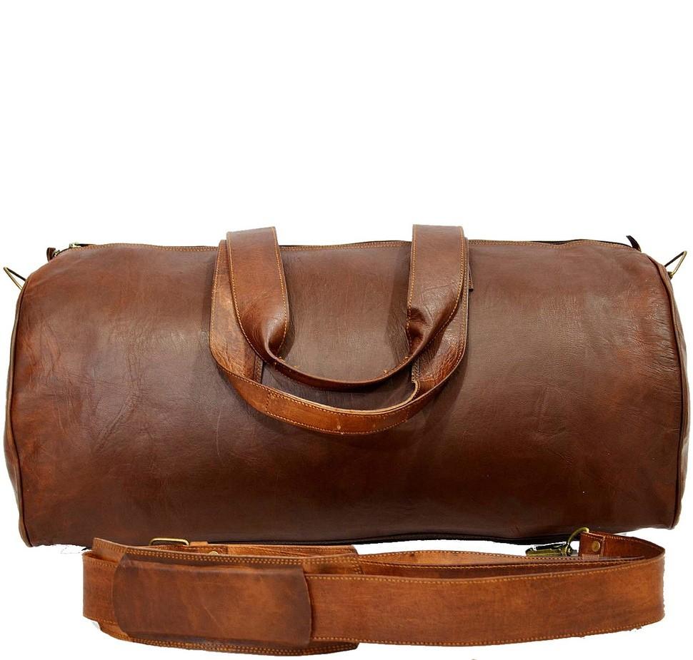 """PH75. URBAN SAFARI™ Skórzana torba podróżna na ramię owalna. Męska / damska. Rozmiar 23"""""""