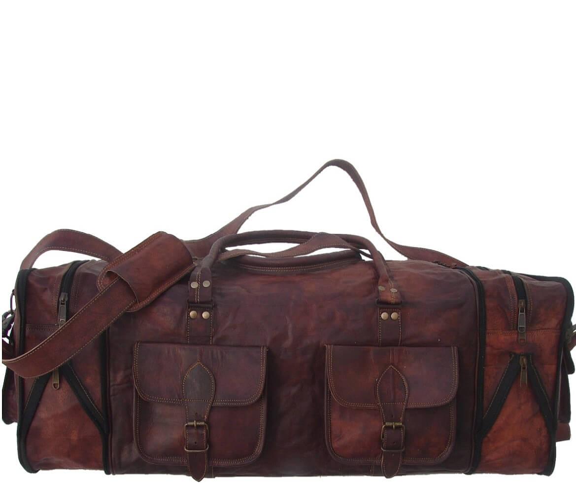 """PH76. VINTAGE HASSAB™  Skórzana torba podróżna na ramię z funkcją mniejsza - większa. Rozmiar 30"""""""