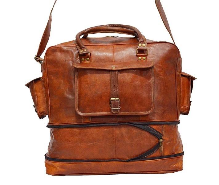 """PH82 VINTAGE KAZAAR™ Skórzana torba podróżna na ramię.  Rozmiar 17"""""""