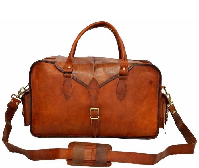 "(uszkodzona) PH9. VINTAGE KARINAR™ Skórzana torba podróżna na ramię.  Rozmiar 19"""