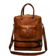 """PH92. TRAVELER SOLO™ Skórzana torba podróżna na ramię / plecak. Rozmiar 17"""""""