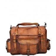 """PH94. INDIANA VINTAGE ™ Skórzana torba podróżna na ramię męska Rozmiar 15"""""""