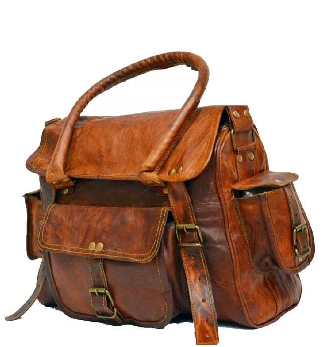 PH96. RAHJA TRAVELER II™ Skórzana torba podróżna na ramię męska bagaż podręczny