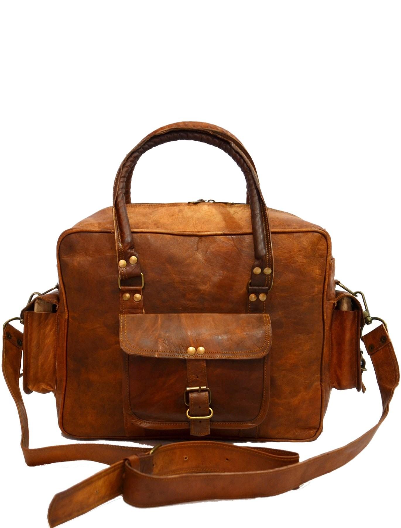 """PH98.  SOLO VINTAGE™ Skórzana torba podróżna na ramię unisex. Rozmiar 11"""""""