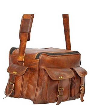 "PH990 REPORTER VINTAGE™ Skórzana torba podróżna na ramię, torba fotograficzna. Rozmiar 14"""