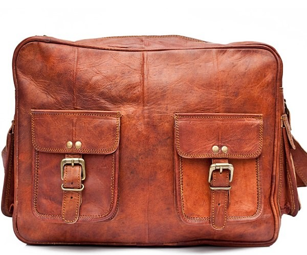 """PH996. ADV TRAVELER VINTAGE™ Skórzana torba podróżna na ramię. Rozmiar 14"""""""