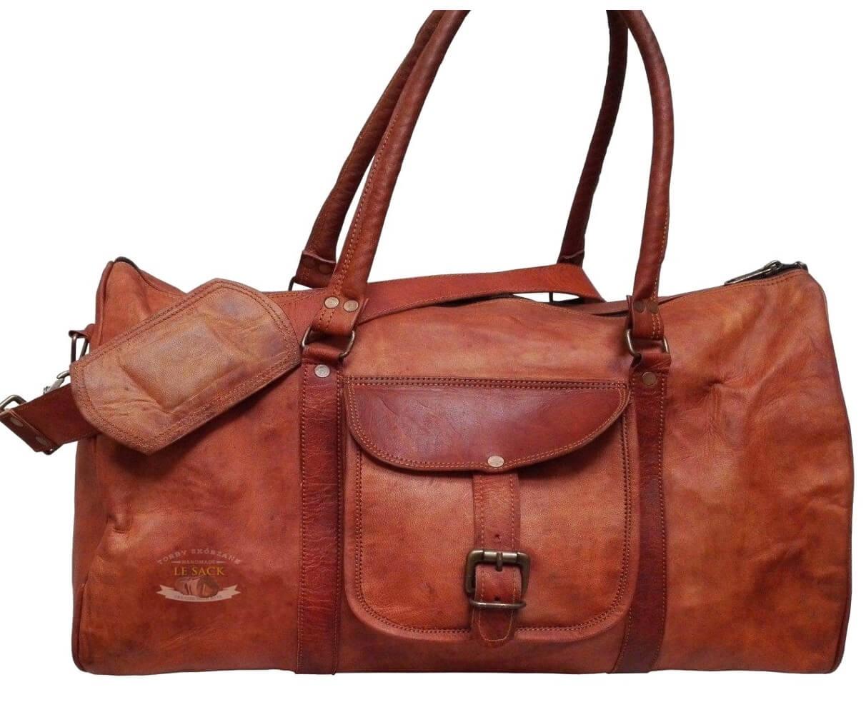 """PK1 TRIANGULAR LESACK™ Skórzana torba podróżna na ramię. Rozmiar 24"""""""