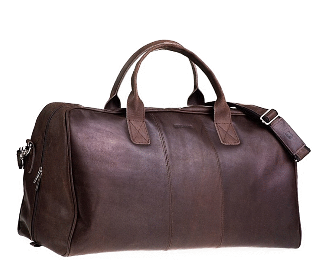 "PL1. Skórzana torba podróżna na ramię męska / damska  Rozmiar 21"" - ciemnobrązowa"
