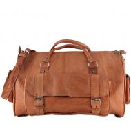 "PM8. Skórzana torba podróżna na ramię męska / damska CAMEL TRAVELER™ Rozmiar 20"" - jasnobrązowy"