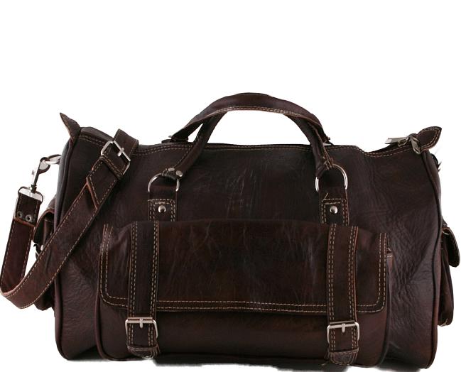 """PM9. Skórzana torba podróżna na ramię męska / damska CAMEL TRAVELER™ Rozmiar 20"""" - ciemnobrązowy"""