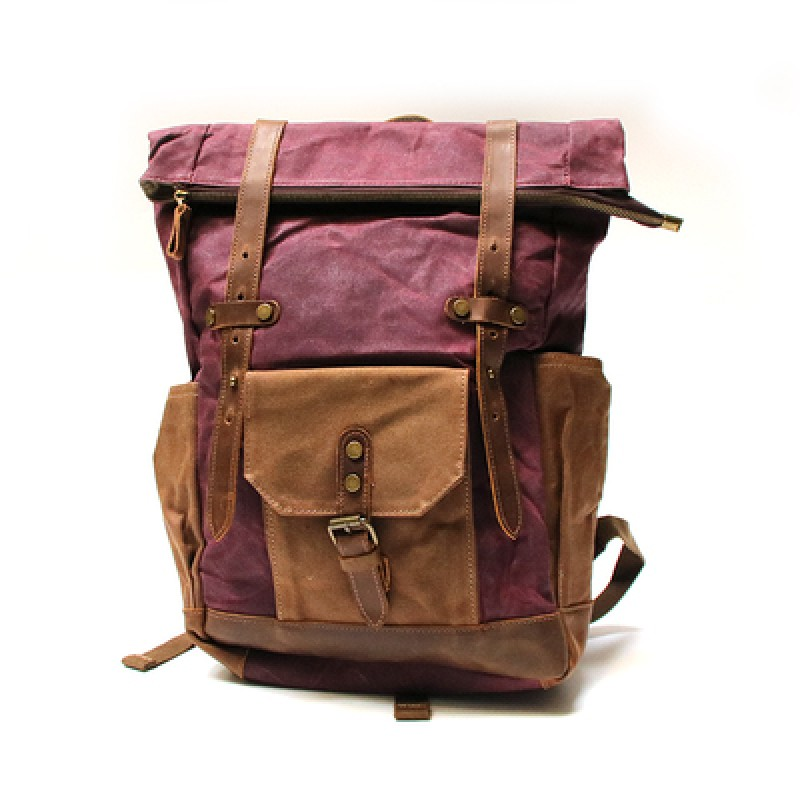 2803d442f8ad4 NOWA P1 Plecak damski-męski z woskowanego płótna bawełnianego - czerwony