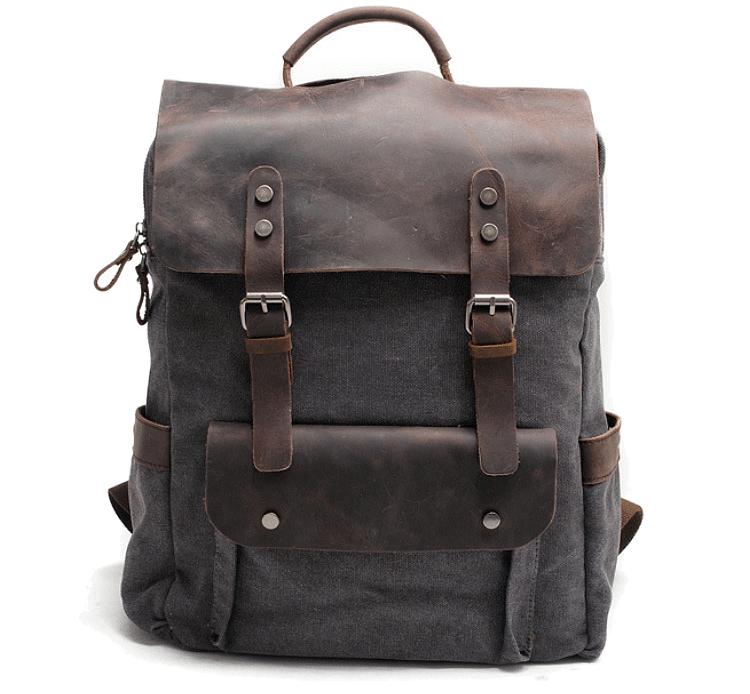 1e3a5db15176e NOWA PL6 VINTAGE TAR MAX™ Plecak unisex z grubego płótna bawełnianego -  CIEMNOSZARY