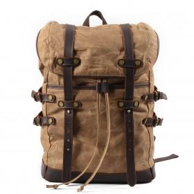 05c6f3b7cc7c4 Plecak CHAMONIX™ damski męski bawełniane płótno woskowane i skóra naturalna  - khaki
