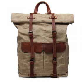 bb1790f059ac5 PL7 VINTAGE KANTHARA™ Plecak unisex z grubego płótna bawełnianego - JASNE  KHAKI