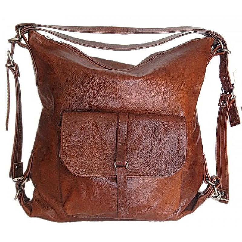 9d14571754fba A1 ALHAMBRA™ Torebka damska na ramię - plecak 2w1 skóra naturalna - brąz -kasztan