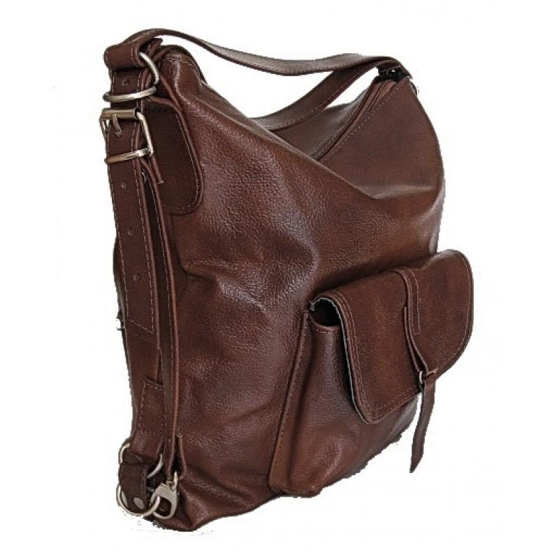 aaf4ab84b877e A1 ALHAMBRA™ Torebka damska na ramię - plecak 2w1 skóra naturalna - brązowy