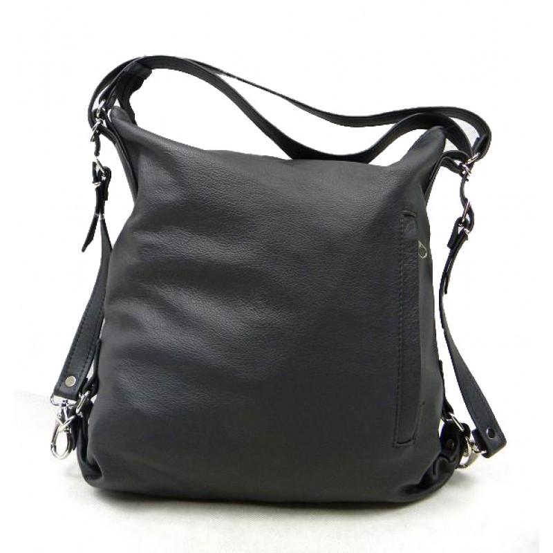 4e678c2d02beb A1 ALHAMBRA™ Torebka damska na ramię - plecak 2w1 skóra naturalna - czarny