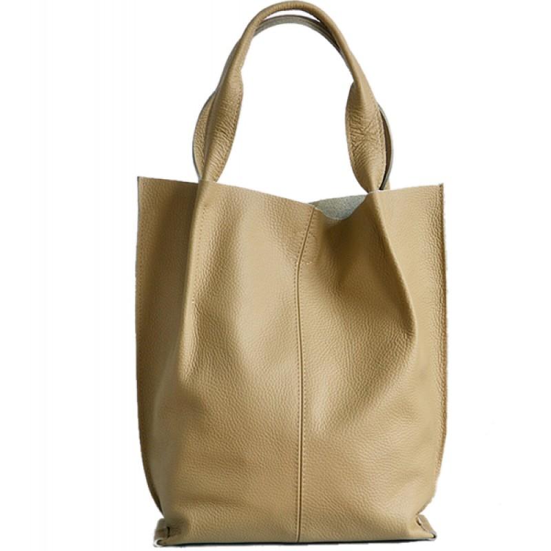 35a519a5ab37d A01 SHOPPER BAG™ Damska torebka skórzana. Format A4 skóra naturalna (beżowa)