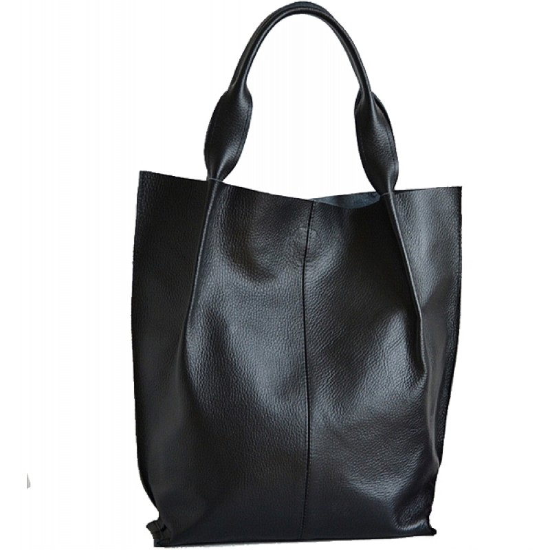009ce9736c90a A01 SHOPPER BAG™ Damska torebka skórzana. Format A4 skóra naturalna (czarna)