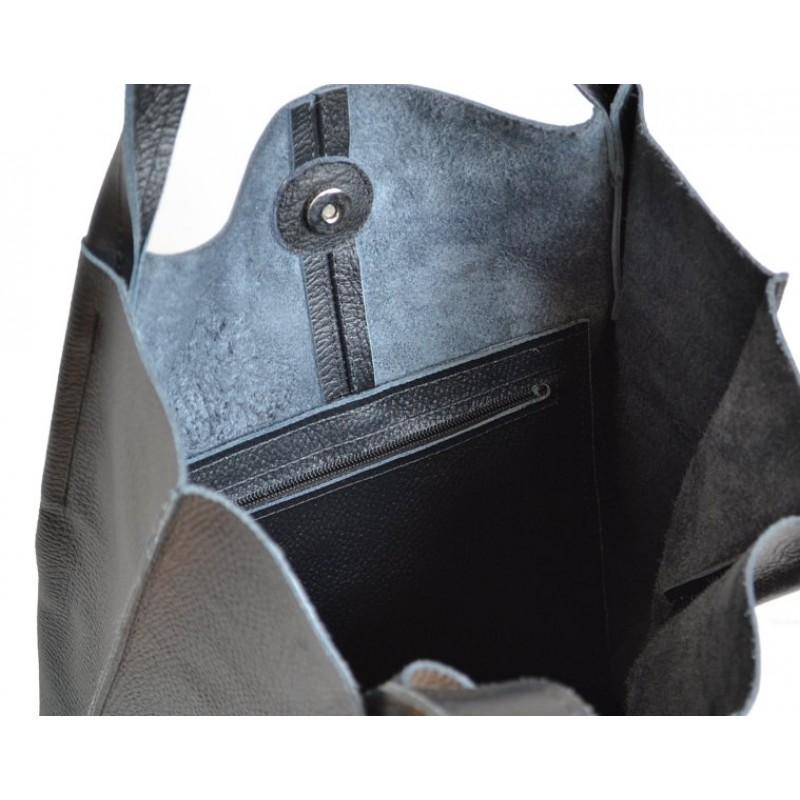 2192fae2d2dc8 A01 SHOPPER BAG™ Damska torebka skórzana. Format A4 skóra naturalna (czarna)