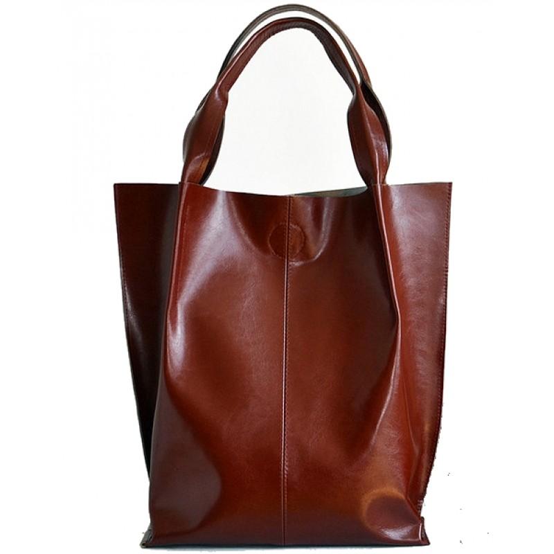 4f71371f674a5 A01 SHOPPER BAG™ Damska torebka skórzana. Format A4 skóra naturalna (koniak)