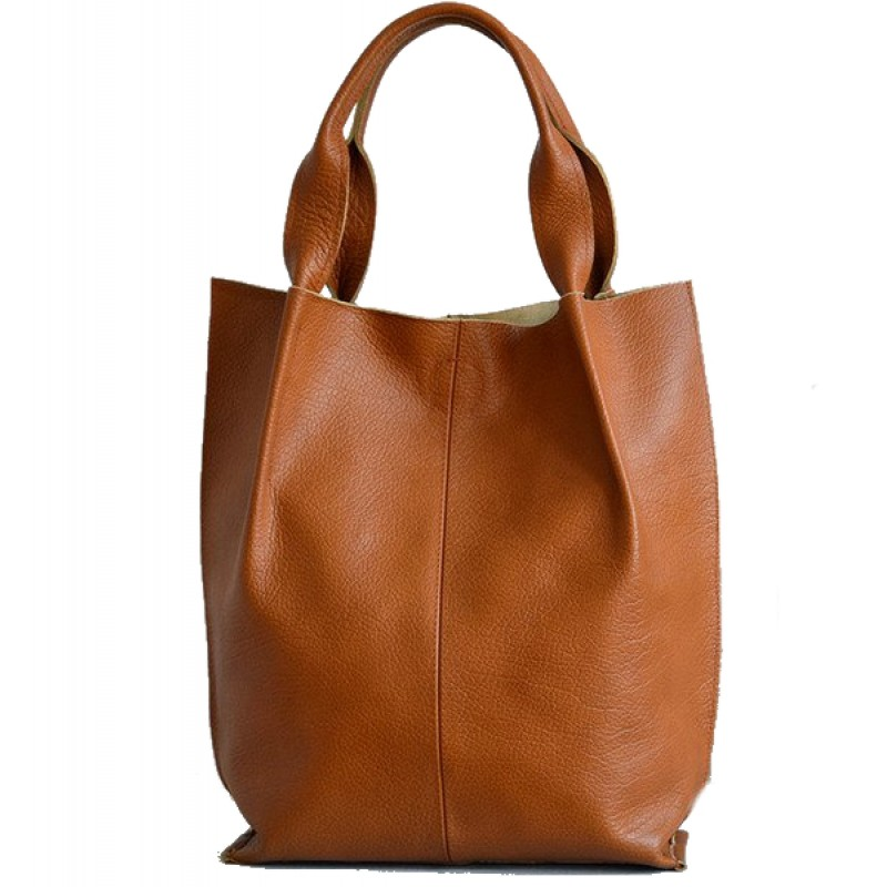 1696c2be0068c A01 SHOPPER BAG™ Damska torebka skórzana. Format A4 skóra naturalna (koniak)