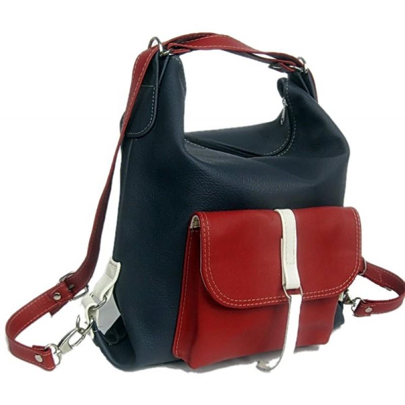 6916f3760fa82 A1 ALHAMBRA™ Torebka damska na ramię - plecak 2w1 skóra naturalna, tricolori