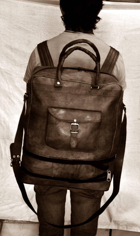 Duzy podróżny plecak skórzany